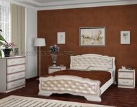 """Кровать """"Карина-10"""" дуб молочный, светлая кожа"""
