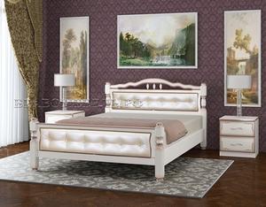 """Кровать """"Карина-11"""" дуб молочный, светлая кожа"""