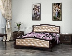 """Кровать """"Карина-10"""" орех темный, светлая кожа"""