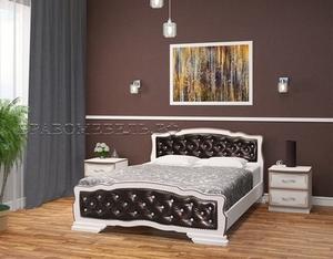 """Кровать """"Карина-10"""" дуб молочный, тёмная экокожа"""