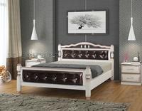 """Кровать """"Карина-11"""" дуб молочный, темная кожа"""